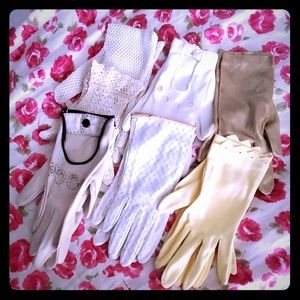 Vintage bundle of 7 prs of gloves white, gold, yel